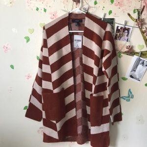 Forever21 Stripe cardigan [Rust/beige]